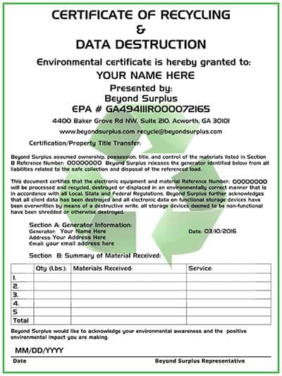 Atlanta electronics recycling free computer disposal for Certificate of data destruction template